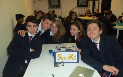 The winning team with their chocolate product, Shok!