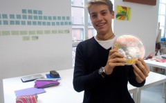 Riccardo winning the 'Guess the amount of sweets in the tub' competition