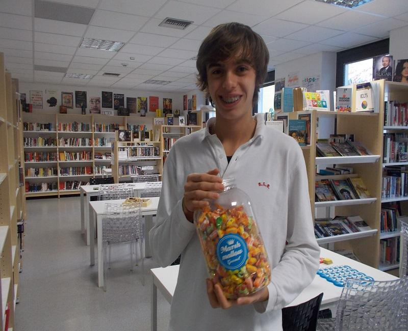 Christopher guessed the closet and won the sweets in the jar
