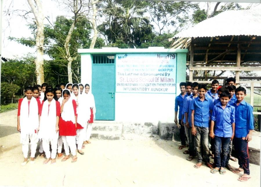 Students from Maupara High School, Bangladesh in front of latrine paid for from fundraising from St Louis School students