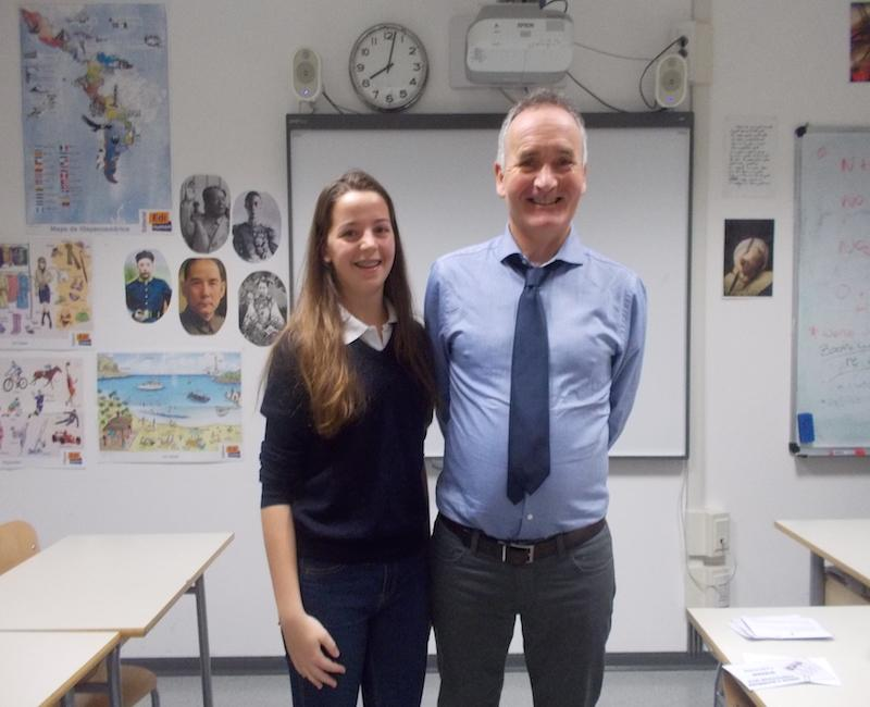 Capucine being congratulated by Mr Rafferty