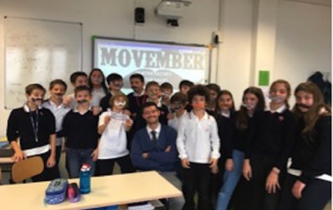 Members of 7B show-off their 'mathstaches' with Head of Zeus, Mr. Curran.